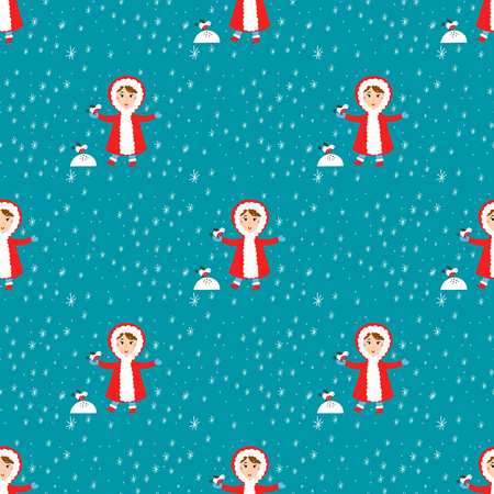 Christmas kids playing winter games children seamless pattern snowballs cartoon new year holidays vector characters illustration.