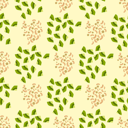 Cartoon fresh kiwi fruits slice flat style seamless pattern food summer design vector illustration.