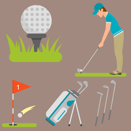 A Vector set of stylized golf icons hobby equipment collection cart golfer player sport symbols illustration. Illustration