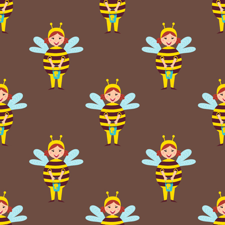 Cute bee kids wearing costume vector characters little people seamless pattern cheerful children holidays illustration
