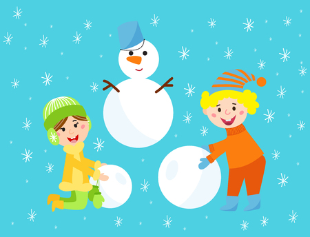 Christmas kids playing winter games children snowballs cartoon new year holidays vector characters illustration.