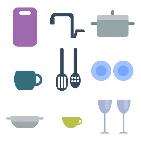 Set of kitchen utensils food kitchenware cooking battery domestic tableware vector illustration