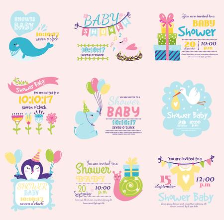 Baby-Dusche Einladung Dekoration Feier Partei Vorlage Jahrgang Standard-Bild - 83251991