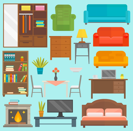 kitchen cabinets: Furniture icons vector isolated illustration outline modern closet bedroom silhouette Illustration