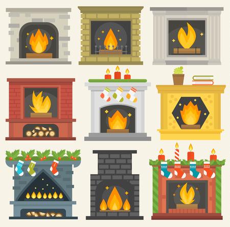 Ensemble d'icônes de cheminée de vecteur. chambre de la maison chaude silhouette de noël. Cheminée flamme brillant décoration four à charbon. Collection de chaleur confortable.