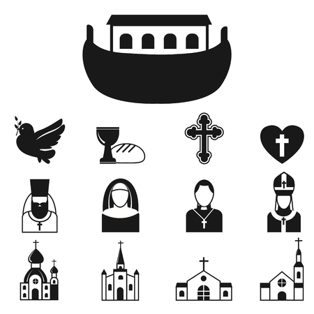 Christianity religion flat icons vector illustration of traditional holy religious black silhouette praying people