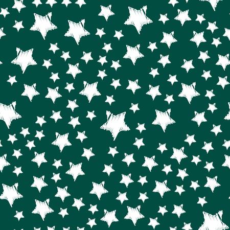 光沢がある星スタイルのシームレスなパターン五角形金賞抽象デザイン落書き夜の芸術の背景ベクトル イラスト。