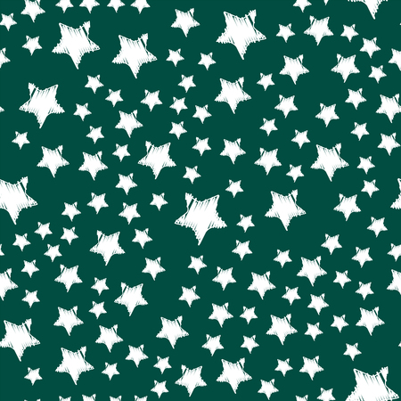 Shiny stars style seamless pattern pentagonal gold award abstract design doodle night artistic background vector illustration. Illustration