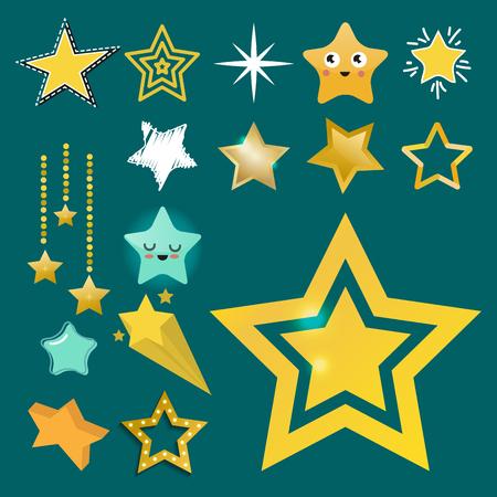 Glanzende ster iconen in verschillende stijl gewezen vijfhoekige gouden toekenning abstract ontwerp doodle nacht artistieke symbool vector illustratie.
