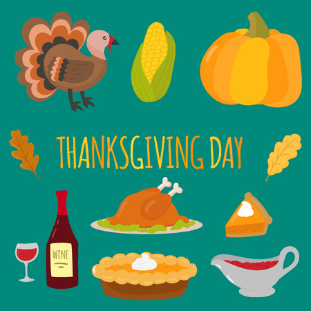 Happy thanksgiving day symbols design holiday objects fresh food harvest autumn season vector illustration