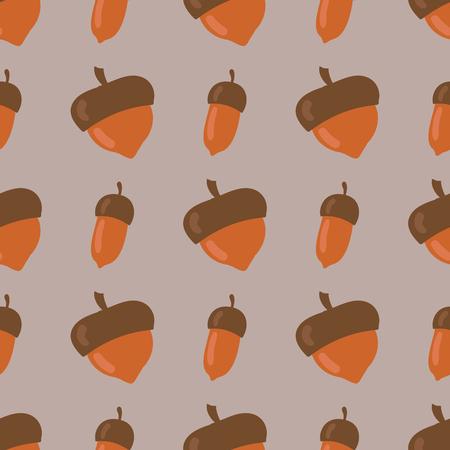 Leuk naadloos die patroon van bruine van het de herfstseizoen van de eikels achtergrond de herfstaard bosontwerp vectorillustratie wordt gemaakt