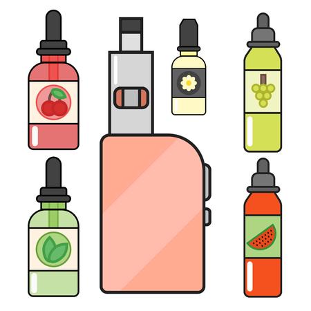 アーク デバイス ベクトルは、シガレット気化蒸気ジュース ボトル味図バッテリー コイルを設定します。 写真素材 - 83295278