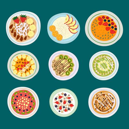 朝食のオートミールお粥果実平面図のおいしいグルメおいしいベジタリアン朝デザート ベクトル図を食べる新鮮です。
