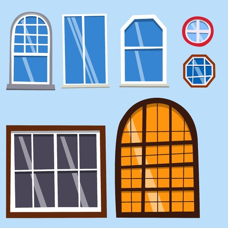 Different types house windows elements flat style frames construction decoration apartment vector illustration. Stock Vector - 83312865