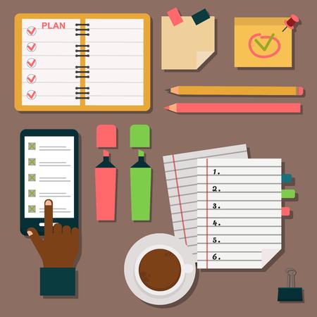 Vector agenda agenda plan de negocios plan de trabajo recordatorio planificador organizador ilustración. Foto de archivo - 83321801