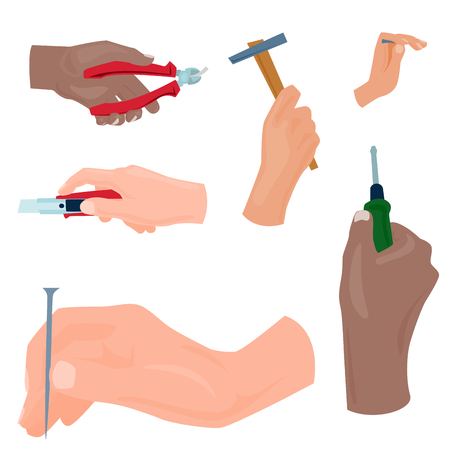 Hands with construction tools vector cartoon style House renovation handyman illustration