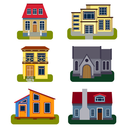 Historical city modern world most visited famous distinctive house building front face facade vector illustration Stock fotó - 83312879