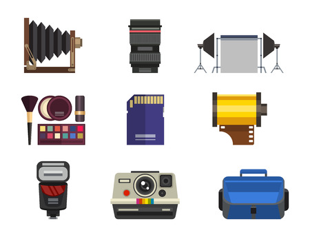 Camera photo optic lenses set different types objective retro photography equipment professional look vector illustration. Digital vintage technology electronic aperture device. Illustration