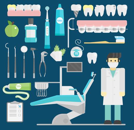 Dentist symbols vector set health care medicine and chemical engineering symbols Ilustrace