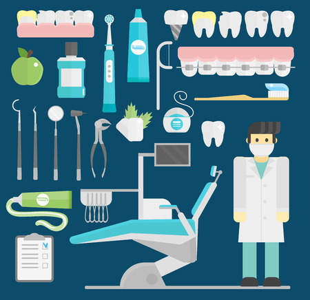 Dentist symbols vector set health care medicine and chemical engineering symbols Illustration