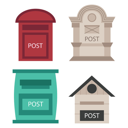Beautiful rural curbside open and closed mailboxes with semaphore flag postbox vector illustration. Ilustração