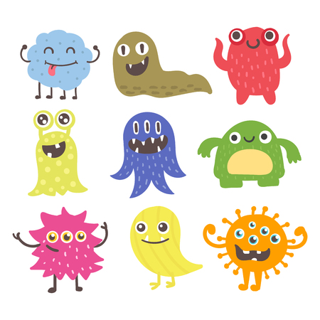 Funny cartoon monster alien character and creature illustration Illustration