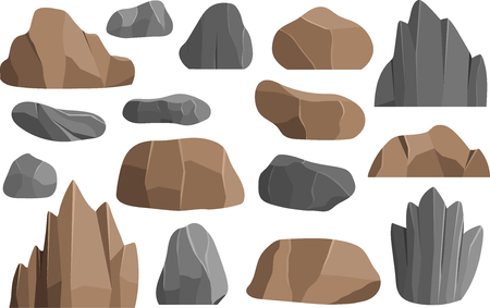 Rocks and stones vector icons building mineral pile vector illustration geology mountains