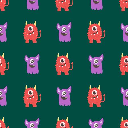 Drôle de bande dessinée monstre seamless caractère alien créature heureux illustration de fond coloré animal de compagnie . vecteur de bande dessinée Banque d'images - 83429817