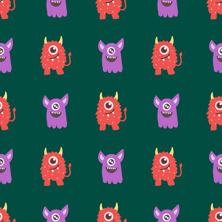 Funny cartoon monster seamless pattern alien character creature happy illustration devil colorful animal background vector.