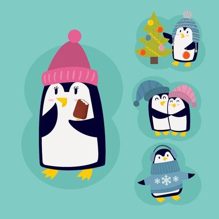 christmas tree illustration: Penguin christmas vector illustration character cartoon funny cute animal antarctica polar beak pole winter bird. Illustration
