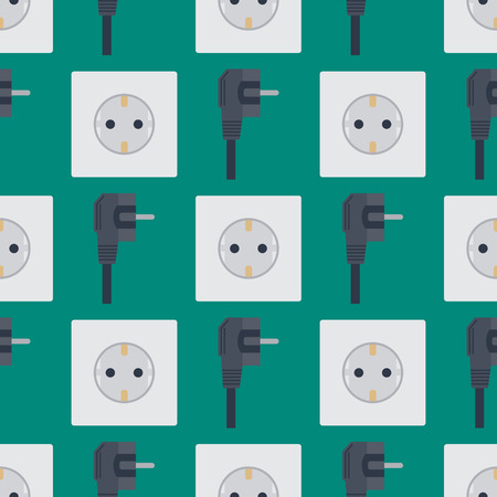 Electric outlet vector illustration energy socket electrical outlets plugs seamless pattern european appliance interior icon. Ilustrace