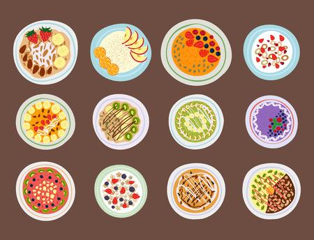 Ontbijt Havermeel Pap Met Bessen Hoogste Bezichtiging Lekker Gourmet Lekker Vegetarisch Vers Eten Zonsondergang Dessert Vector Illustratie.