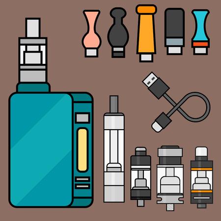 Vape device vector set cigarette vaporizer vapor juice bottle flavor illustration battery coil.