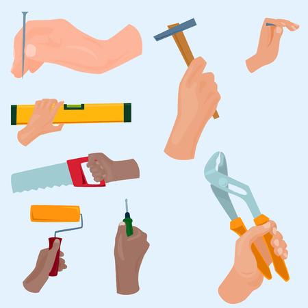Hands with construction tools vector cartoon style House renovation handyman illustration