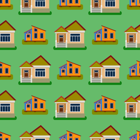 Historical city modern world seamless pattern distinctive house building front face facade vector illustration 向量圖像