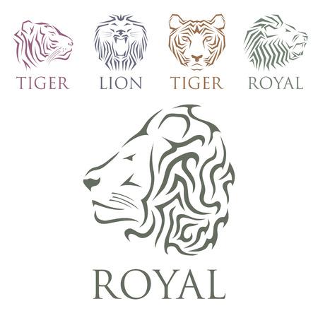 美しい動物のベクトルとタイガー ヘッド ロイヤル バッジ手の描かれたライオンの顔のイラスト。