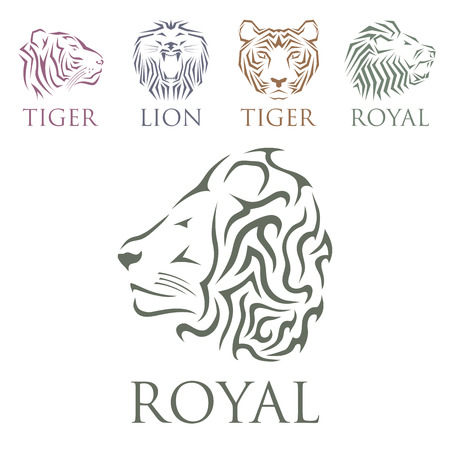 Tiger head royal badge with beautiful animal vector hand drawn lion face illustration.