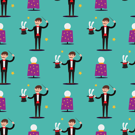 Magician prestidigitator illusionist character tricks seamless pattern vector illustration magic conjurer show cartoon man
