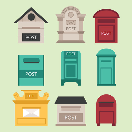 Beautiful rural curbside open and closed mailboxes with semaphore flag postbox vector illustration. Traditional communication empty postage post mail box. Letter message service correspondence. Illusztráció
