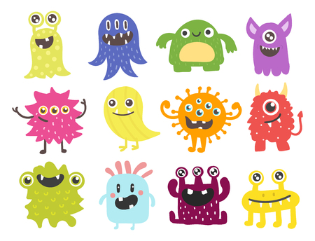 재미 있은 만화 괴물 귀여운 외계인 문자 및 생물 행복 한 그림 악마 다채로운 동물 벡터입니다. 할로윈 멋진 몸짓 박테리아 또는 만화 바이러스 얼굴.