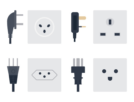 Electric outlet vector illustration energy socket electrical outlets plugs european appliance interior icon. Stock Illustratie