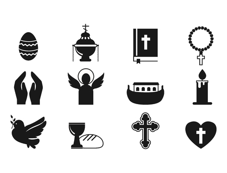 A Christianity religion flat icons vector illustration of traditional holy candle silhouette praying people character design. Faith priest church religious architecture.