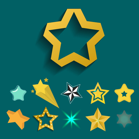 Shiny star icons in different style pointed pentagonal gold award abstract design doodle night artistic symbol vector illustration.