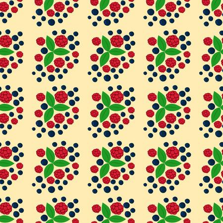 ラズベリーのシームレス パターン新鮮なベリー赤熟した背景ベジタリアン成分夏デザート ベクトル図