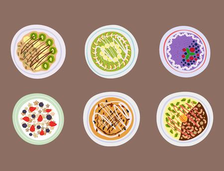 Breakfast oatmeal porridge with berries top view tasty gourmet delicious vegetarian fresh eating morning dessert vector illustration. Illustration