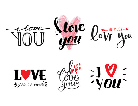 wedding couple: Vector I love You text overlays hand drawn lettering collection inspirational lover quote illustration. Illustration