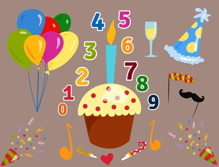 Partij Pictogrammen Viering Gelukkige Verjaardag Verrassing