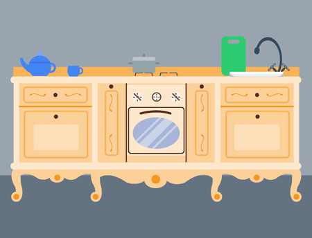 Residential interior of modern kitchen in luxury mansion. House architecture new modern furniture vector illustration.