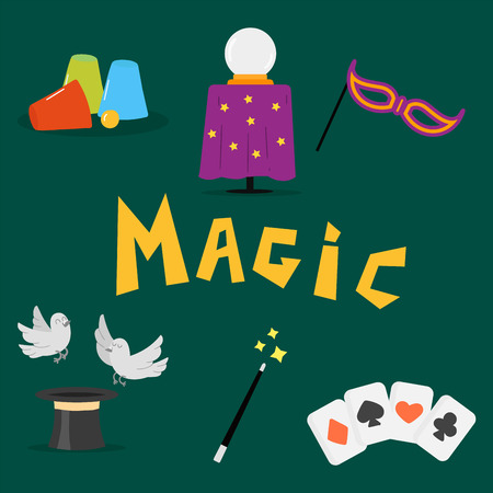 Magician tools art style gambler playful symbol traditional playing graphic drawing vector illustration