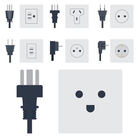 Elektrische uitgang vector illustratie energie stopcontact stopcontacten stekkers Europese apparaat interieur pictogram.